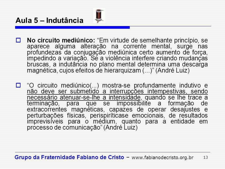 """Grupo da Fraternidade Fabiano de Cristo – www.fabianodecristo.org.br 13 Aula 5 – Indutância  No circuito mediúnico: """"Em virtude de semelhante princíp"""