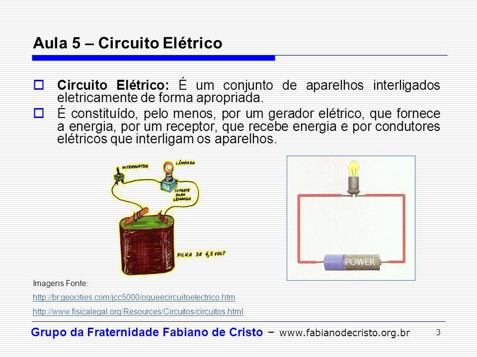 Grupo da Fraternidade Fabiano de Cristo – www.fabianodecristo.org.br 3 Aula 5 – Circuito Elétrico  Circuito Elétrico: É um conjunto de aparelhos inte