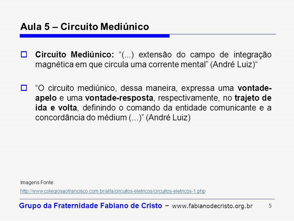 "Grupo da Fraternidade Fabiano de Cristo – www.fabianodecristo.org.br 5 Aula 5 – Circuito Mediúnico  Circuito Mediúnico: ""(...) extensão do campo de i"