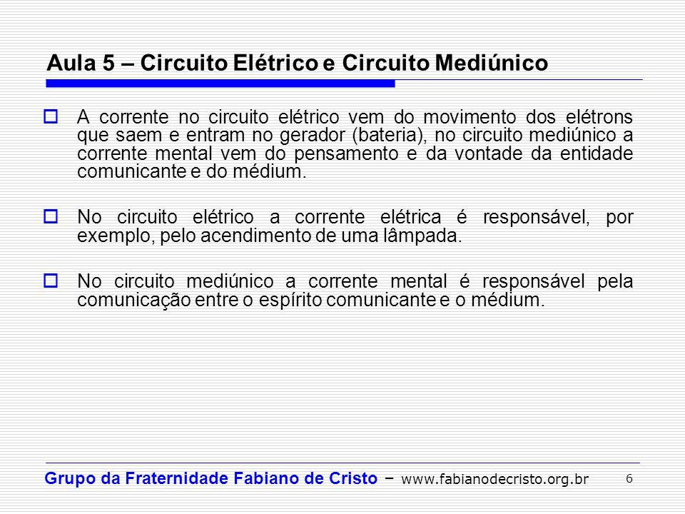 Grupo da Fraternidade Fabiano de Cristo – www.fabianodecristo.org.br 17  Circuitos Elétricos: http://www.colegiosaofrancisco.com.br/alfa/circuitos-eletricos/circuitos- eletricos-1.php  Circuito Elétrico e Circuito Mediúnico: http://www.cristofilos.org.br/~gepec/ppt_pdf/palestra10.pdf  Circuito Elétrico e Circuito Mediúnico: http://www.comunidadeespirita.com.br/mediunidade/mecanismosdamed /VI%20circuito%20eletrico%20e%20circuito%20mediunico.htm Referências