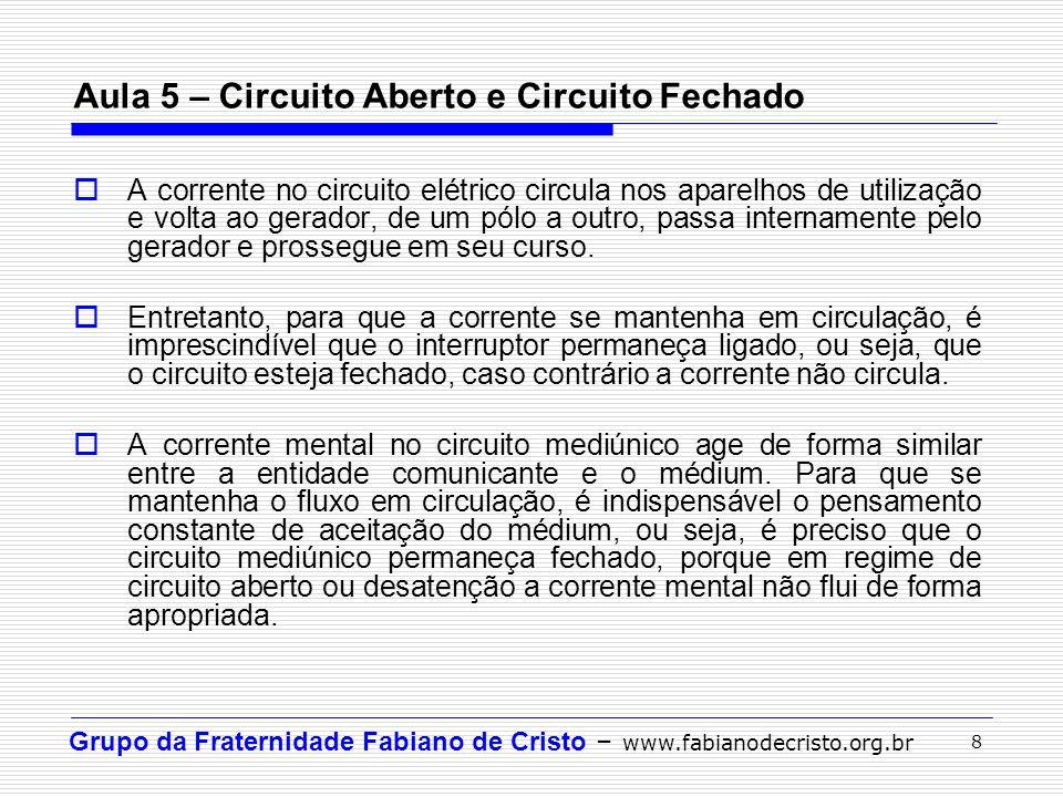 Grupo da Fraternidade Fabiano de Cristo – www.fabianodecristo.org.br 8 Aula 5 – Circuito Aberto e Circuito Fechado  A corrente no circuito elétrico c