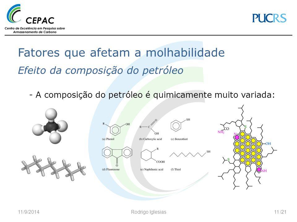 /21 Fatores que afetam a molhabilidade Efeito da composição do petróleo - A composição do petróleo é quimicamente muito variada: 11/9/2014Rodrigo Igle