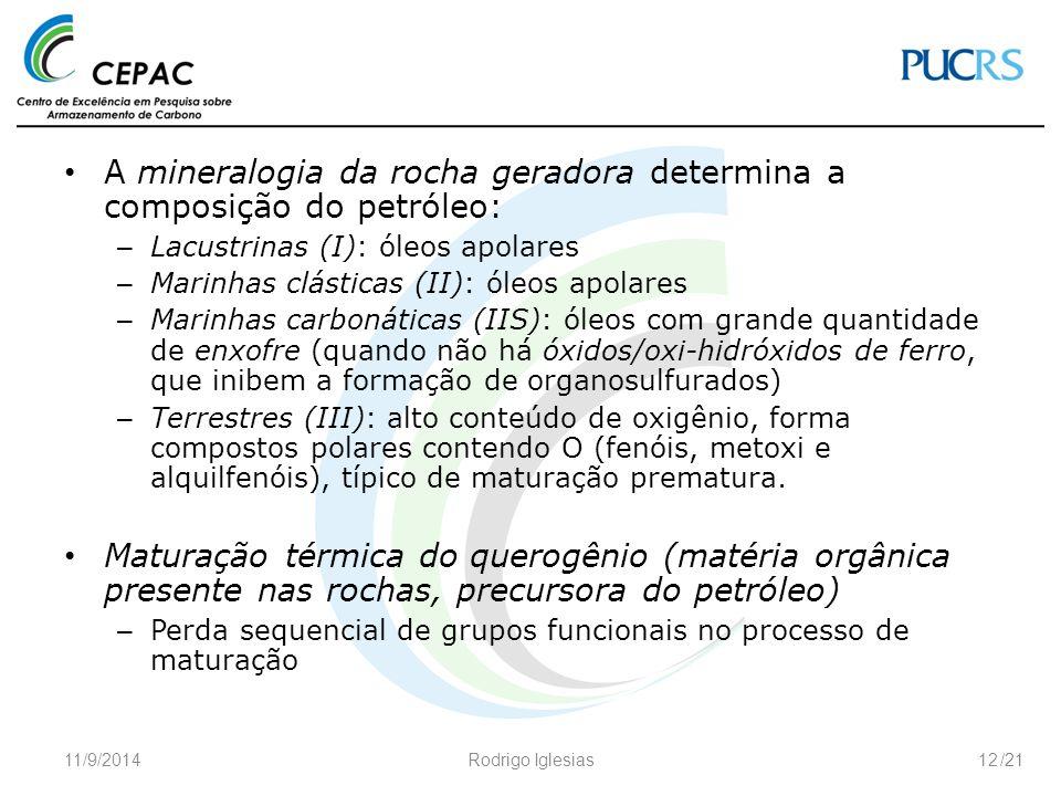 /21 A mineralogia da rocha geradora determina a composição do petróleo: – Lacustrinas (I): óleos apolares – Marinhas clásticas (II): óleos apolares –