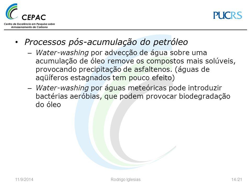 /21 Processos pós-acumulação do petróleo – Water-washing por advecção de água sobre uma acumulação de óleo remove os compostos mais solúveis, provocan