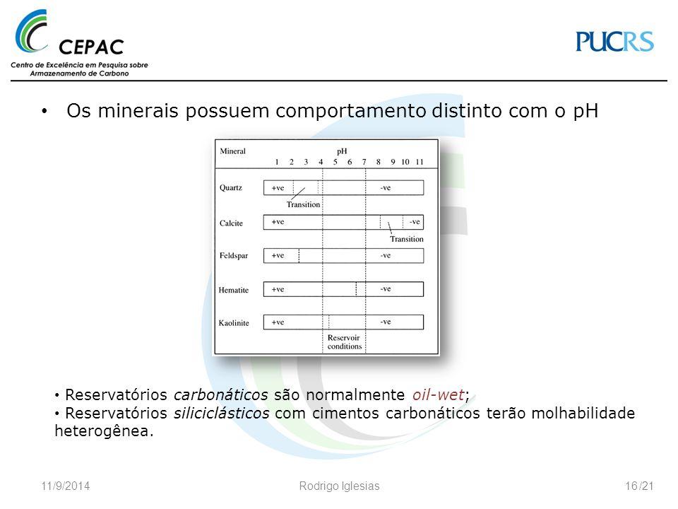 /21 Os minerais possuem comportamento distinto com o pH 11/9/2014Rodrigo Iglesias16 Reservatórios carbonáticos são normalmente oil-wet; Reservatórios