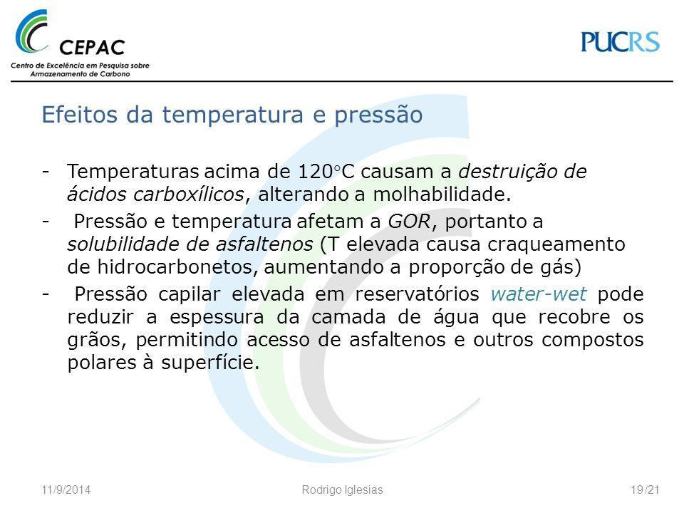 /21 Efeitos da temperatura e pressão -Temperaturas acima de 120C causam a destruição de ácidos carboxílicos, alterando a molhabilidade. - Pressão e t