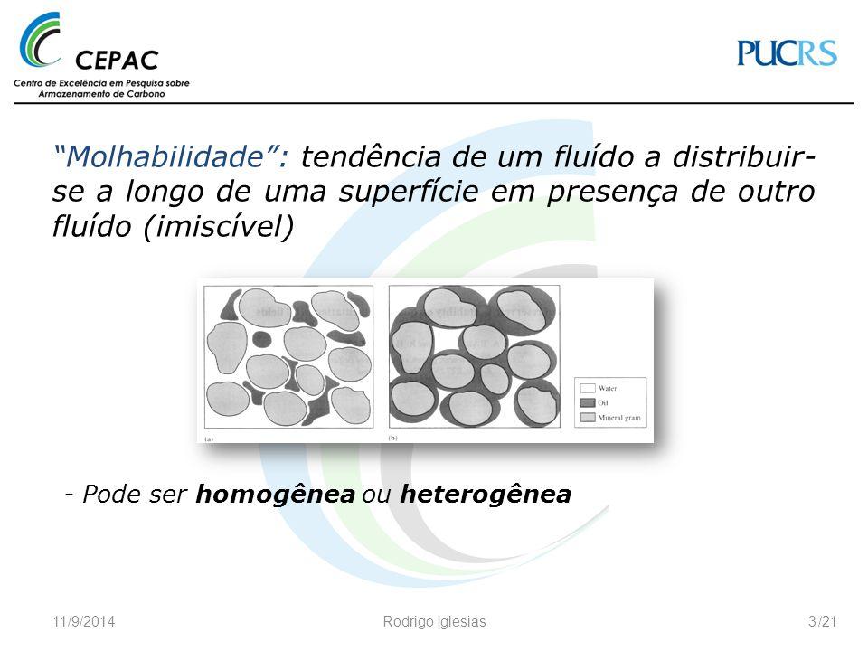 """/21 """"Molhabilidade"""": tendência de um fluído a distribuir- se a longo de uma superfície em presença de outro fluído (imiscível) 11/9/2014Rodrigo Iglesi"""
