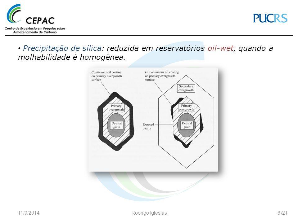 /21 Precipitação de sílica: reduzida em reservatórios oil-wet, quando a molhabilidade é homogênea. 11/9/2014Rodrigo Iglesias6
