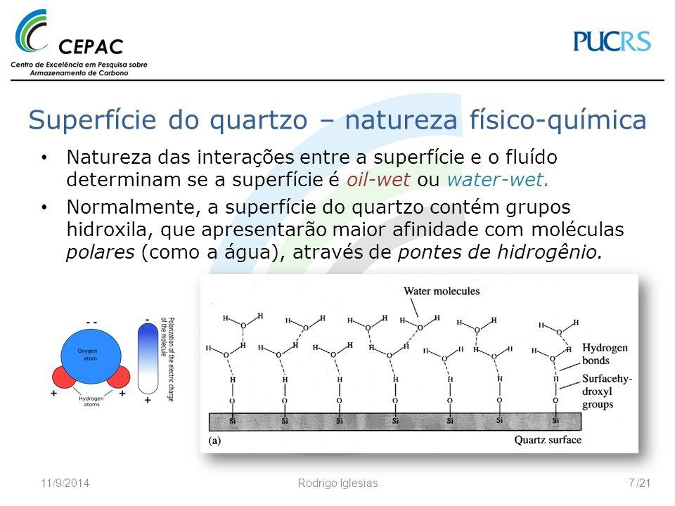 /21 Superfície do quartzo – natureza físico-química Natureza das interações entre a superfície e o fluído determinam se a superfície é oil-wet ou wate