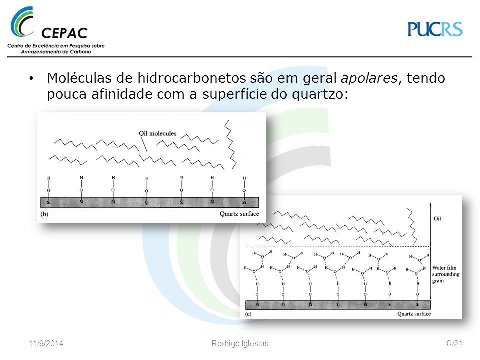 /21 A afinidade pela superfície do quartzo pode ser alterada pela adição de surfactantes – moléculas ou grupos polares ou hidrofílicos (tipicamente contendo elementos N, S ou O) que agem diminuindo a tensão superficial ou interfacial: 11/9/2014Rodrigo Iglesias9 exemplos de surfactantes:
