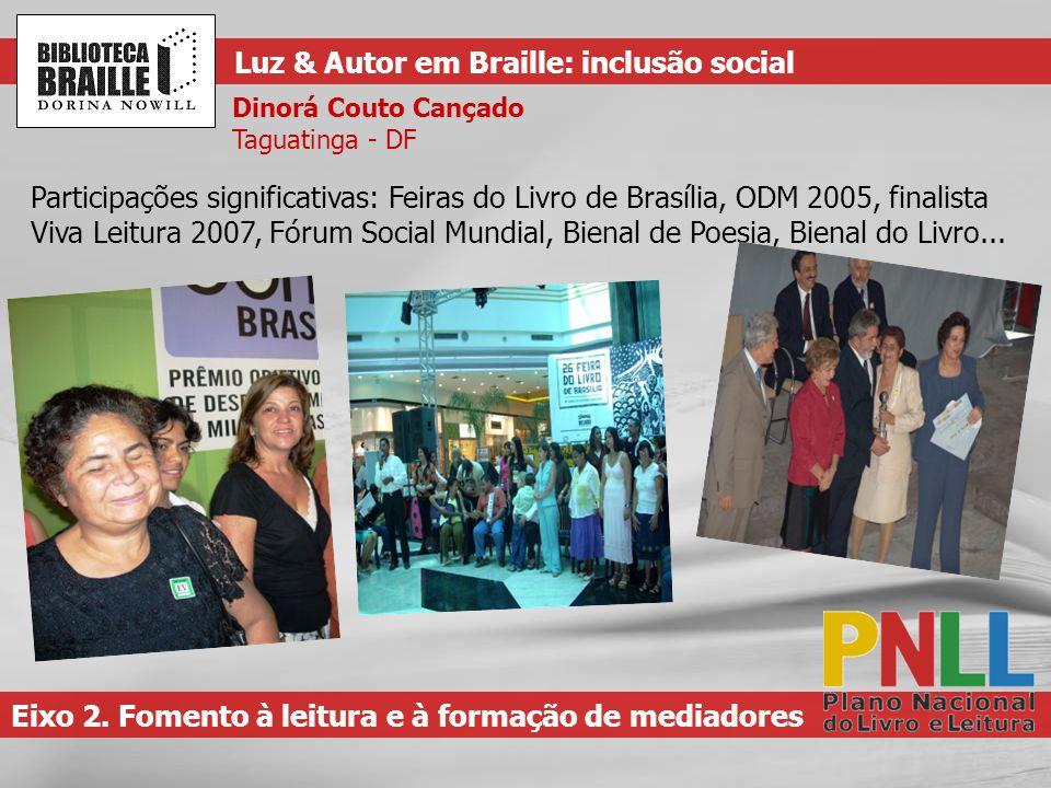Participações significativas: Feiras do Livro de Brasília, ODM 2005, finalista Viva Leitura 2007, Fórum Social Mundial, Bienal de Poesia, Bienal do Livro...