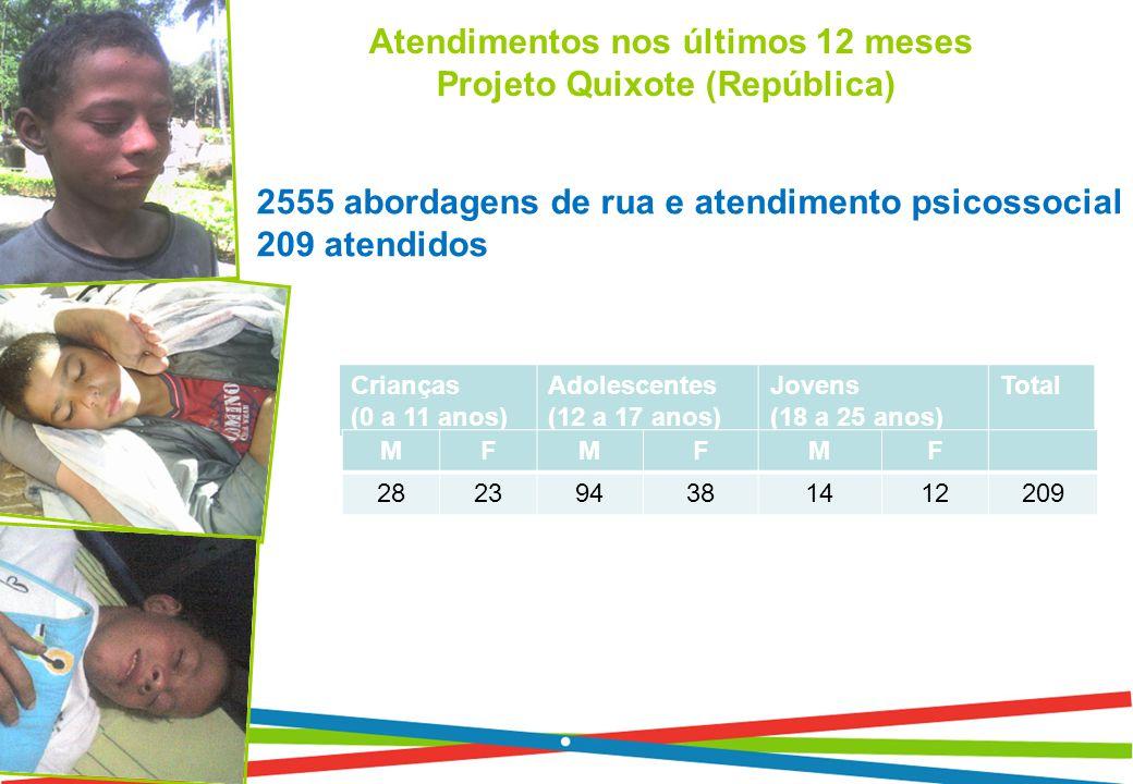 Atendimentos nos últimos 12 meses Projeto Quixote (República) 2555 abordagens de rua e atendimento psicossocial 209 atendidos Crianças (0 a 11 anos) Adolescentes (12 a 17 anos) Jovens (18 a 25 anos) Total MFMFMF 282394381412209