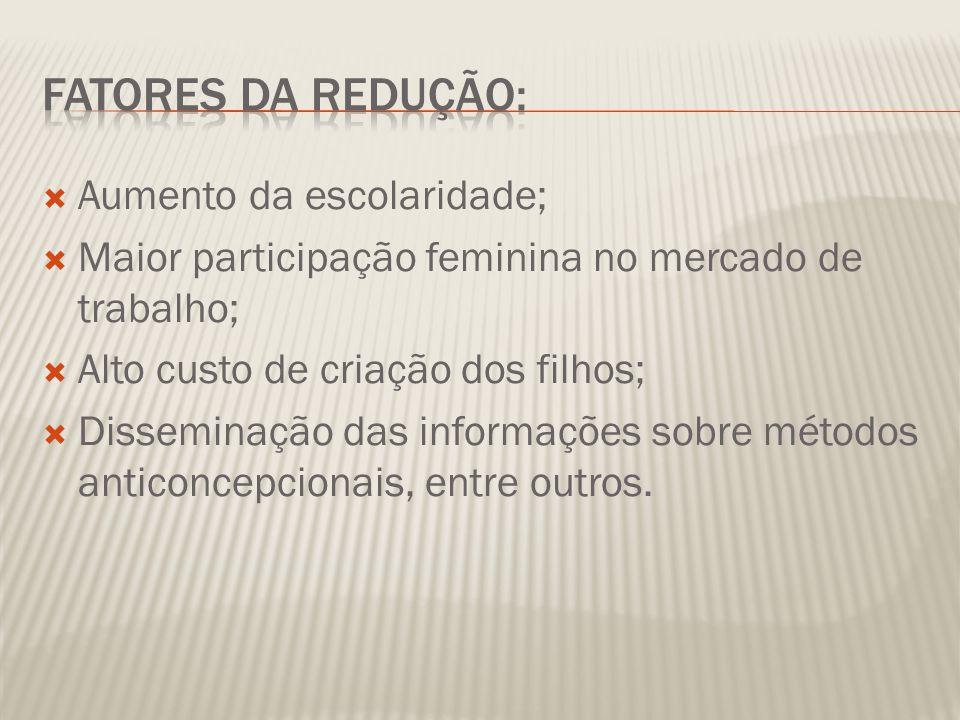AAumento da escolaridade; MMaior participação feminina no mercado de trabalho; AAlto custo de criação dos filhos; DDisseminação das informações sobre métodos anticoncepcionais, entre outros.