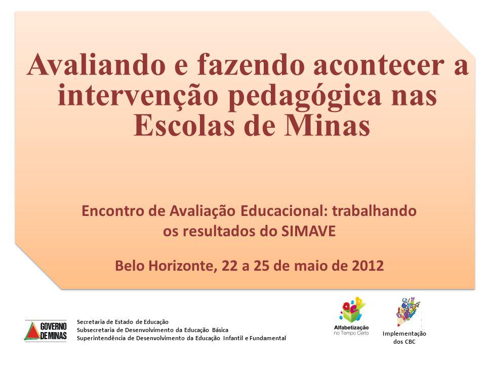 Avaliando e fazendo acontecer a intervenção pedagógica nas Escolas de Minas Secretaria de Estado de Educação Subsecretaria de Desenvolvimento da Educa