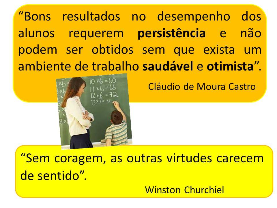 Bons resultados no desempenho dos alunos requerem persistência e não podem ser obtidos sem que exista um ambiente de trabalho saudável e otimista .