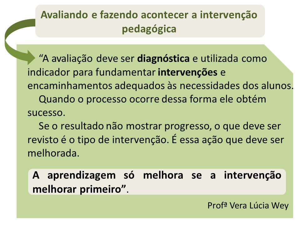 """Avaliando e fazendo acontecer a intervenção pedagógica """"A avaliação deve ser diagnóstica e utilizada como indicador para fundamentar intervenções e en"""