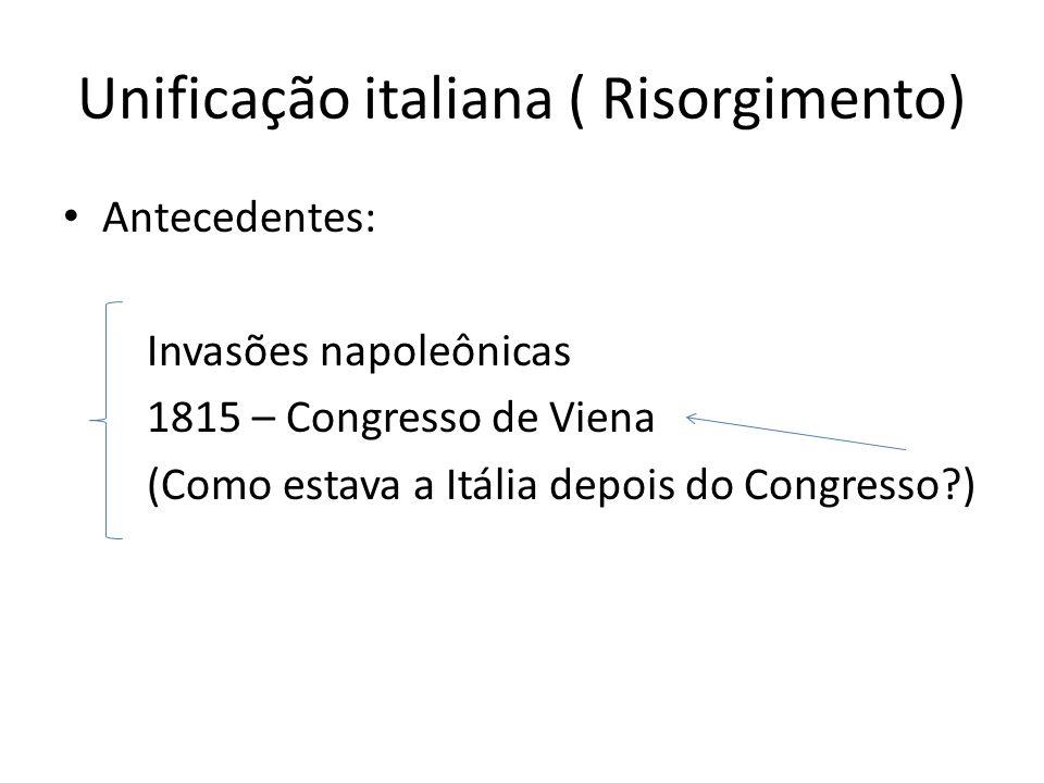Unificação italiana ( Risorgimento) Antecedentes: Invasões napoleônicas 1815 – Congresso de Viena (Como estava a Itália depois do Congresso?)