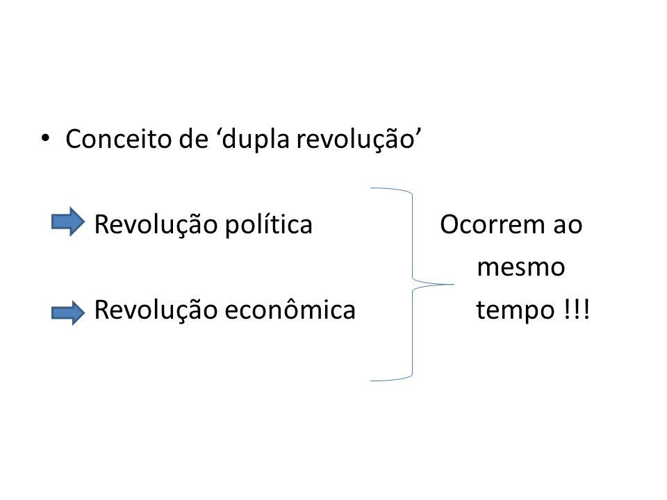 Conceito de 'dupla revolução' Revolução política Ocorrem ao mesmo Revolução econômica tempo !!!