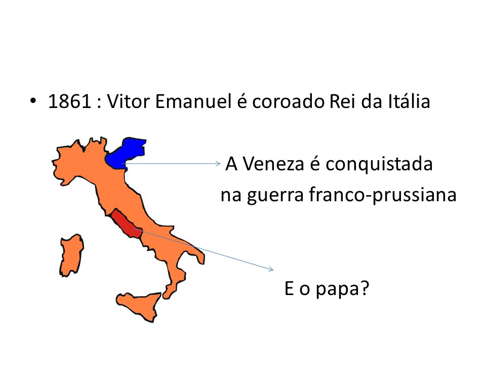 1861 : Vitor Emanuel é coroado Rei da Itália A Veneza é conquistada na guerra franco-prussiana E o papa?