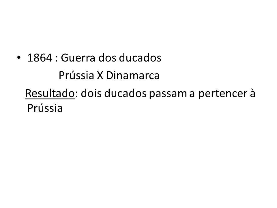 1864 : Guerra dos ducados Prússia X Dinamarca Resultado: dois ducados passam a pertencer à Prússia
