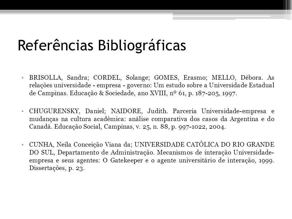 Referências Bibliográficas BRISOLLA, Sandra; CORDEL, Solange; GOMES, Erasmo; MELLO, Débora. As relações universidade - empresa - governo: Um estudo so