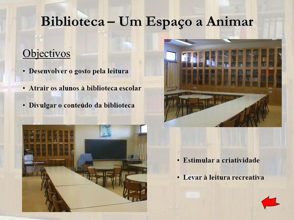 Biblioteca – Um Espaço a Animar Desenvolver o gosto pela leitura Atrair os alunos à biblioteca escolar Divulgar o conteúdo da biblioteca Estimular a c