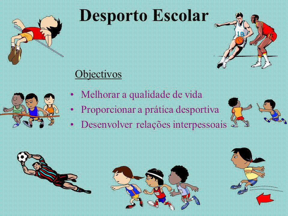 Desporto Escolar Melhorar a qualidade de vida Proporcionar a prática desportiva Desenvolver relações interpessoais Objectivos