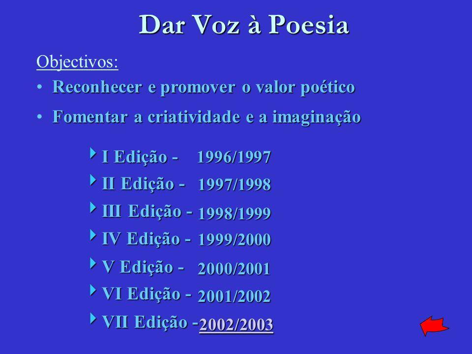 Dar Voz à Poesia 1997/1998 2001/2002 1998/1999 1999/2000 2000/2001 Reconhecer e promover o valor poético Fomentar a criatividade e a imaginação  I Edição - 1996/1997  II Edição -  III Edição -  IV Edição -  V Edição -  VI Edição - Objectivos: 2002/2003  VII Edição -