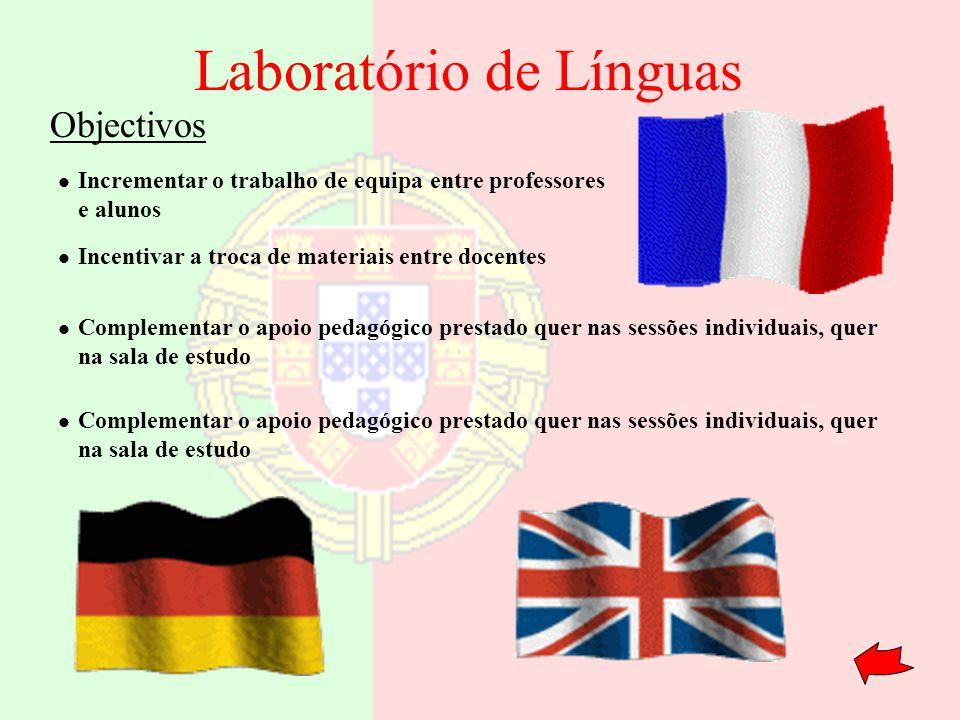 Laboratório de Línguas Incrementar o trabalho de equipa entre professores e alunos Incentivar a troca de materiais entre docentes Complementar o apoio