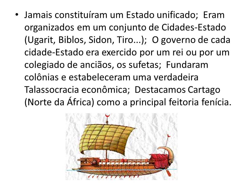 Jamais constituíram um Estado unificado; Eram organizados em um conjunto de Cidades-Estado (Ugarit, Biblos, Sidon, Tiro...); O governo de cada cidade-