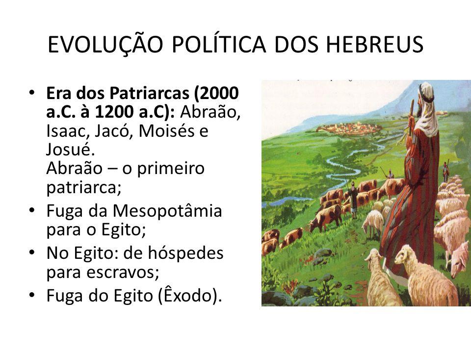 EVOLUÇÃO POLÍTICA DOS HEBREUS Era dos Patriarcas (2000 a.C. à 1200 a.C): Abraão, Isaac, Jacó, Moisés e Josué. Abraão – o primeiro patriarca; Fuga da M