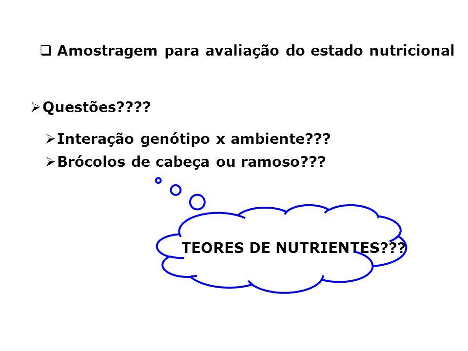  Amostragem para avaliação do estado nutricional  Questões????  Interação genótipo x ambiente??? TEORES DE NUTRIENTES???  Brócolos de cabeça ou ra