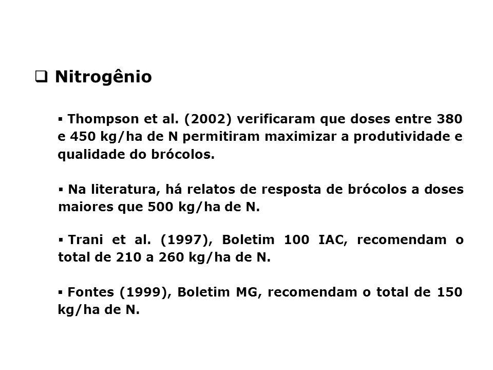  Thompson et al. (2002) verificaram que doses entre 380 e 450 kg/ha de N permitiram maximizar a produtividade e qualidade do brócolos.  Na literatur