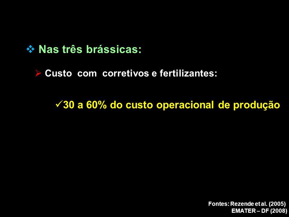  Nas três brássicas:  Custo com corretivos e fertilizantes: 30 a 60% do custo operacional de produção Fontes: Rezende et al. (2005) EMATER – DF (200