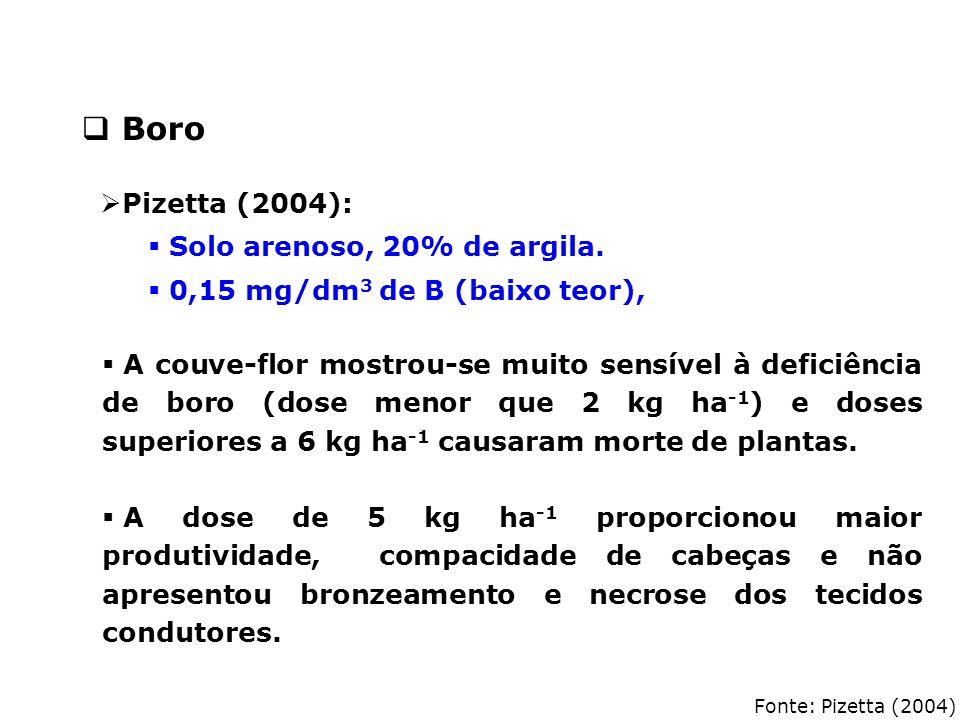 Fonte: Pizetta (2004)  A couve-flor mostrou-se muito sensível à deficiência de boro (dose menor que 2 kg ha -1 ) e doses superiores a 6 kg ha -1 caus