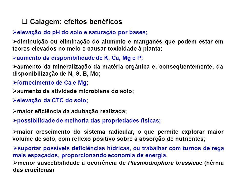  Calagem: efeitos benéficos  elevação do pH do solo e saturação por bases;  diminuição ou eliminação do alumínio e manganês que podem estar em teor