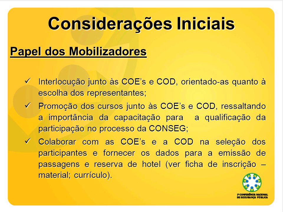 Considerações Iniciais Papel dos Mobilizadores Interlocução junto às COE's e COD, orientado-as quanto à escolha dos representantes; Interlocução junto às COE's e COD, orientado-as quanto à escolha dos representantes; Promoção dos cursos junto às COE's e COD, ressaltando a importância da capacitação para a qualificação da participação no processo da CONSEG; Promoção dos cursos junto às COE's e COD, ressaltando a importância da capacitação para a qualificação da participação no processo da CONSEG; Colaborar com as COE's e a COD na seleção dos participantes e fornecer os dados para a emissão de passagens e reserva de hotel (ver ficha de inscrição – material; currículo).