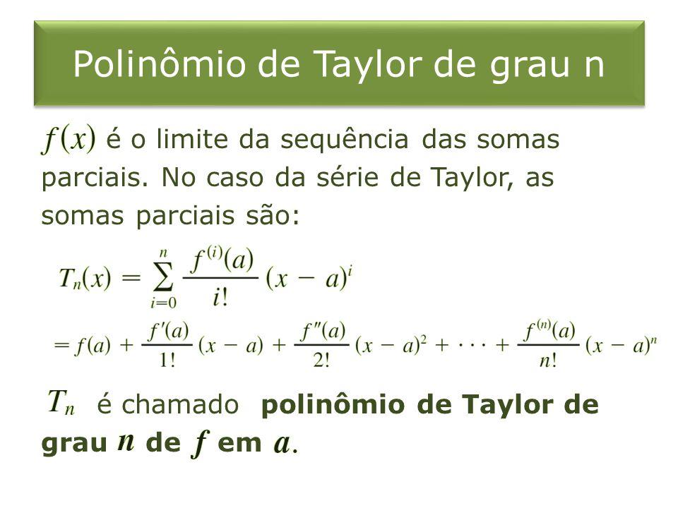 Polinômio de Taylor de grau n é o limite da sequência das somas parciais. No caso da série de Taylor, as somas parciais são: é chamado polinômio de Ta