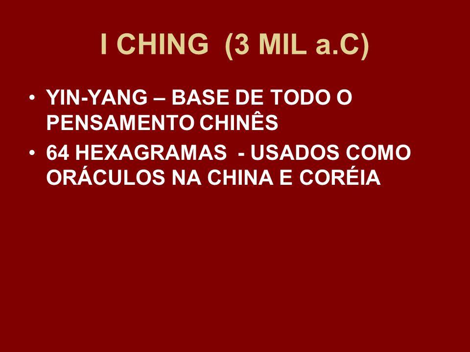 I CHING (3 MIL a.C) YIN-YANG – BASE DE TODO O PENSAMENTO CHINÊS 64 HEXAGRAMAS - USADOS COMO ORÁCULOS NA CHINA E CORÉIA