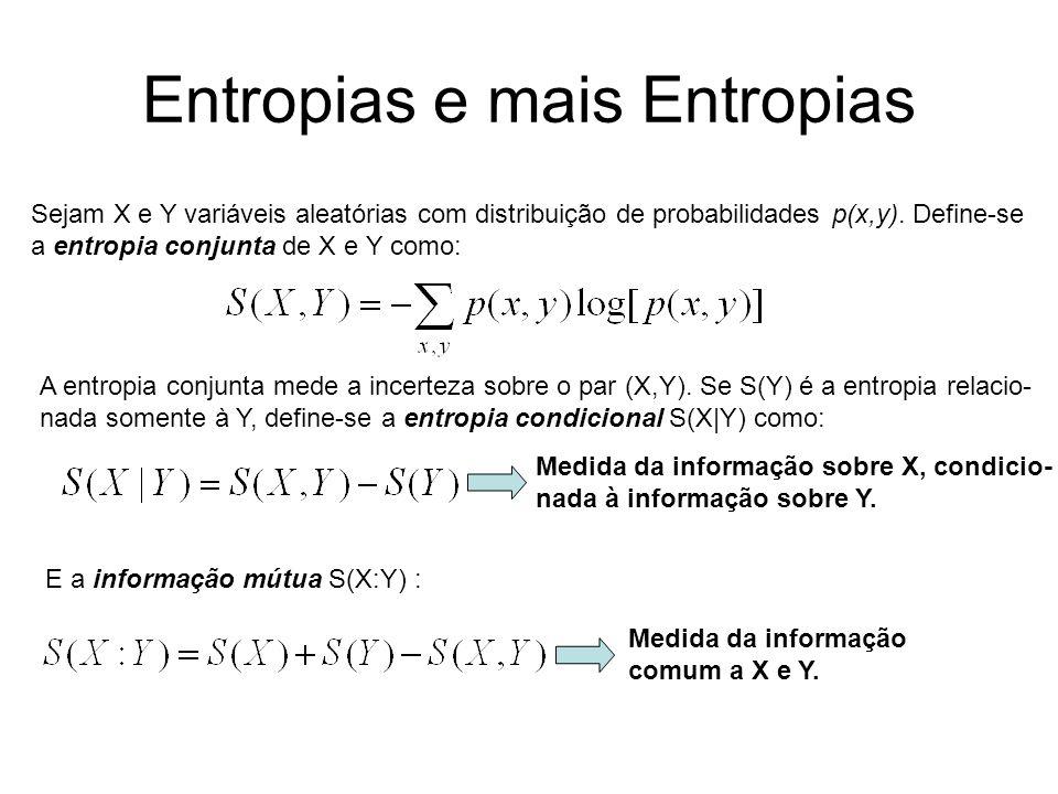 Entropias e mais Entropias Sejam X e Y variáveis aleatórias com distribuição de probabilidades p(x,y). Define-se a entropia conjunta de X e Y como: A