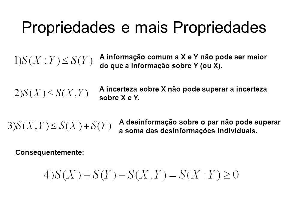 Propriedades e mais Propriedades A informação comum a X e Y não pode ser maior do que a informação sobre Y (ou X). A incerteza sobre X não pode supera