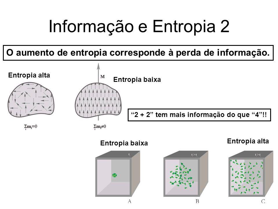 """Informação e Entropia 2 O aumento de entropia corresponde à perda de informação. Entropia alta Entropia baixa Entropia alta """"2 + 2"""" tem mais informaçã"""