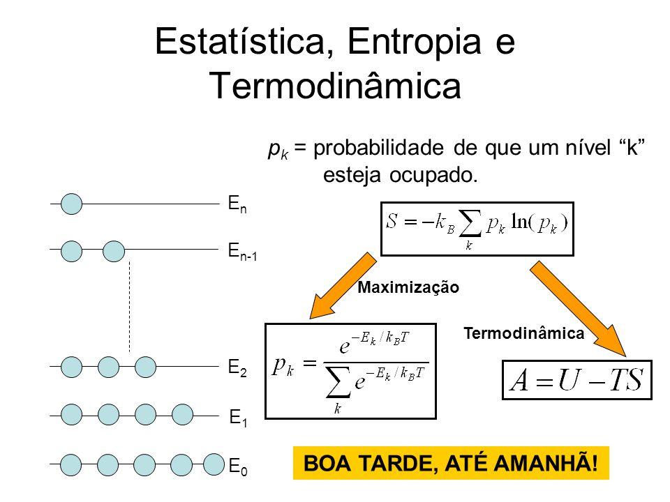 """Estatística, Entropia e Termodinâmica E0E0 E1E1 E2E2 E n-1 EnEn p k = probabilidade de que um nível """"k"""" esteja ocupado. Maximização Termodinâmica BOA"""