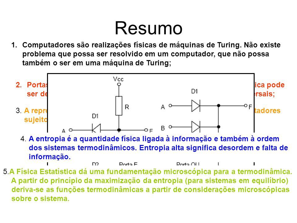 Resumo 1.Computadores são realizações físicas de máquinas de Turing. Não existe problema que possa ser resolvido em um computador, que não possa també