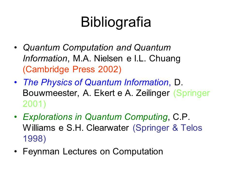 Bibliografia Quantum Computation and Quantum Information, M.A. Nielsen e I.L. Chuang (Cambridge Press 2002) The Physics of Quantum Information, D. Bou