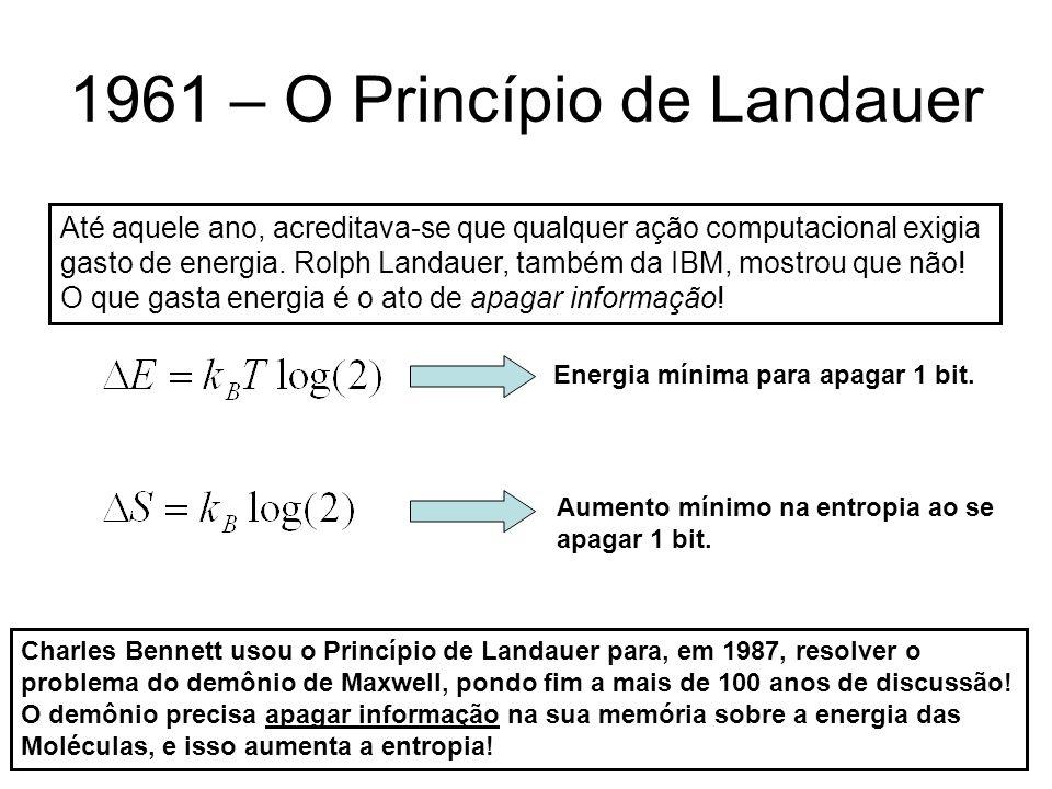 1961 – O Princípio de Landauer Até aquele ano, acreditava-se que qualquer ação computacional exigia gasto de energia. Rolph Landauer, também da IBM, m