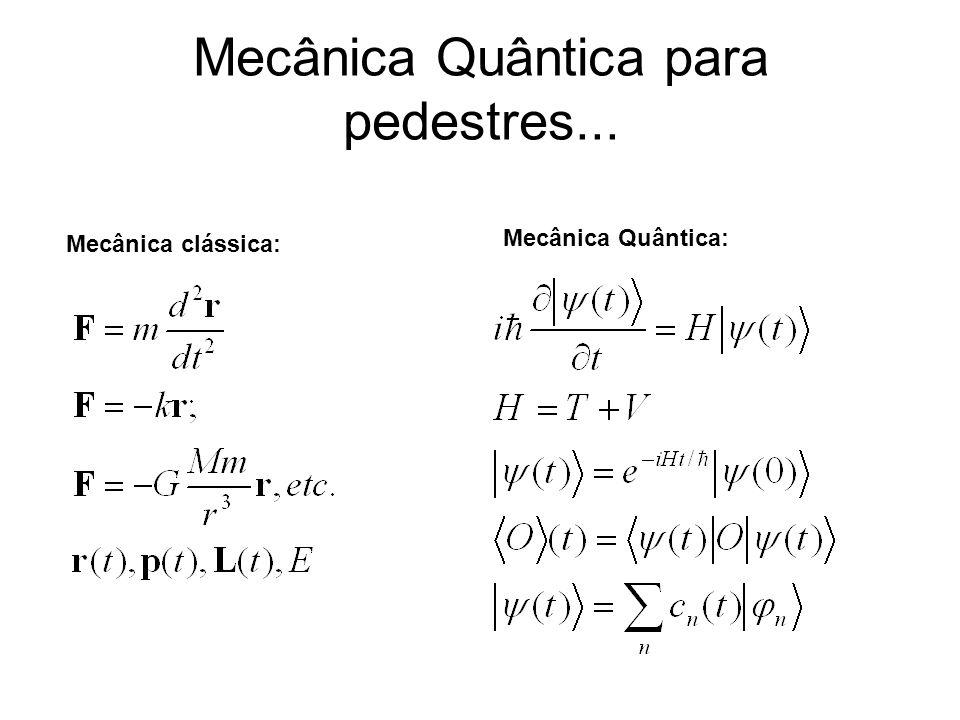 Mecânica Quântica para pedestres... Mecânica clássica: Mecânica Quântica: