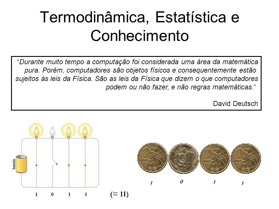 """Termodinâmica, Estatística e Conhecimento """"Durante muito tempo a computação foi considerada uma área da matemática pura. Porém, computadores são objet"""