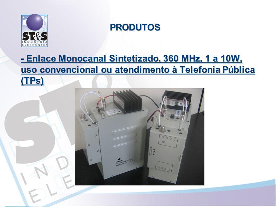 - Enlace Monocanal Sintetizado, 360 MHz, 1 a 10W, uso convencional ou atendimento à Telefonia Pública (TPs) PRODUTOS