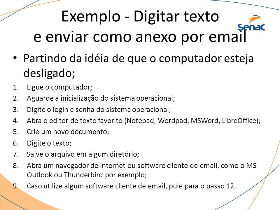 Exemplo - Digitar texto e enviar como anexo por email Partindo da idéia de que o computador esteja desligado; 1.Ligue o computador; 2.Aguarde a inicia